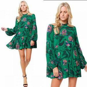 Free People Drift Away Printed Top Mini Dress